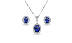 Blue Sapphire & White Topaz Oval Halo Necklace & Earrings Set in Sterling Silver