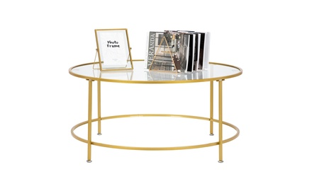 """36"""" 2 Layers Glass Round Coffee Accent Table for Living Room"""