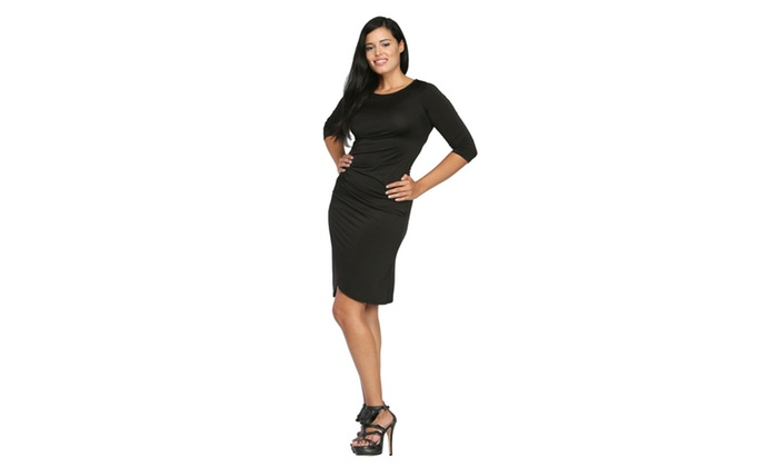 24/7 Comfort Apparel Women's 3/4-Sleeve Wrap Dress