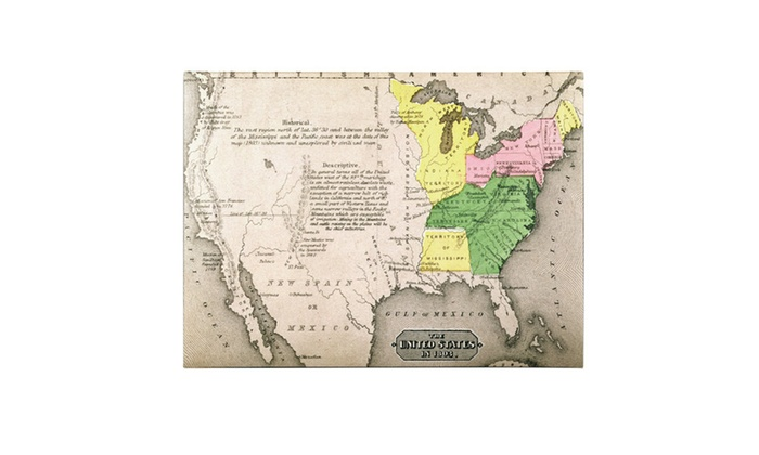 Map Of The United States In 1803 Canvas Art Groupon