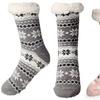 Slipper Socks Fleece-Lined Cozy Thick Winter Knee Highs Stockings for Woman