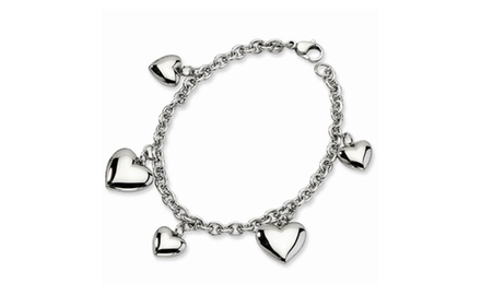 IceCarats Designer Jewelry Stainless Steel Polished Hearts Bracelet In 8 Inch