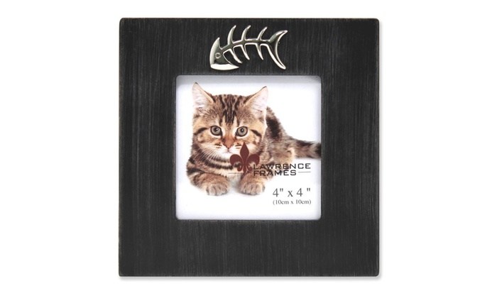 4x4 Black Wash Cat Frame With Fish Bone Ornament Groupon