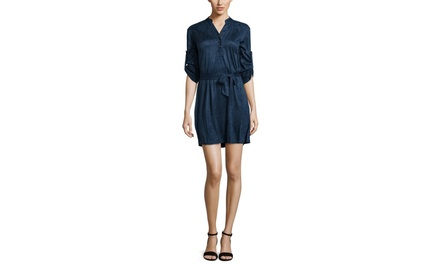 YOUNG THREADS Faux Suede Belted Dress