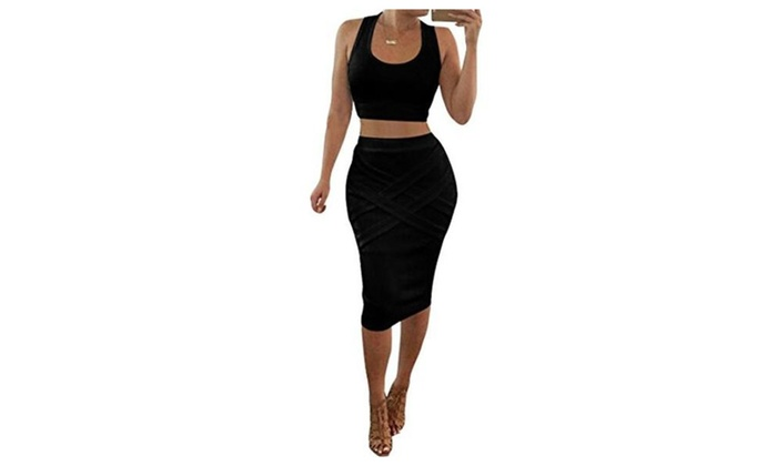 Womens Crop Top Midi Skirt Outfit Two Piece Bodycon Dress