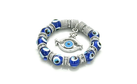 Amulet Evil Eye Protection Hamsa Hand and Eye Lucky Dangling Charm with Blue Glass and Crystals Elements Beads
