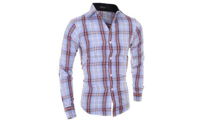 Men's Casual Fitted Plaid Lapel Long Sleeve Button Down Shirts