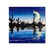 Roderick Stevens Desert Crescent Moon Lake Canvas Print