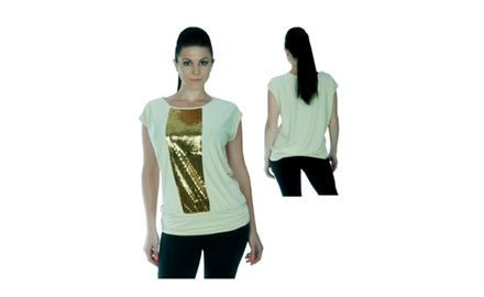Plus Size Stretchy Shimmer Sequined Top - Assorted Colors