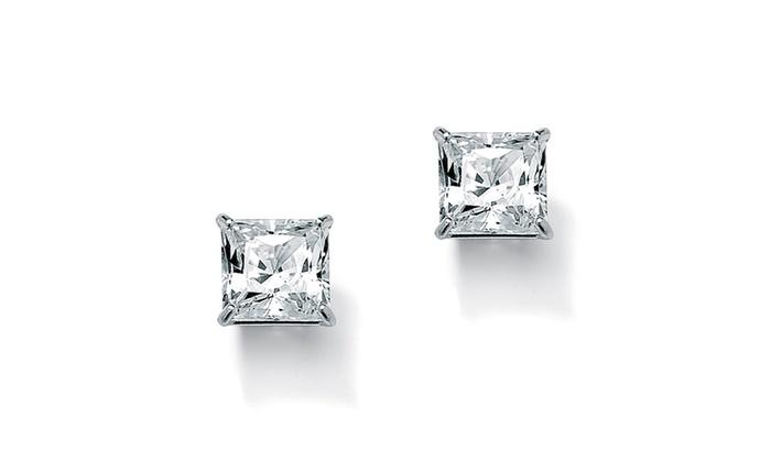 3 24 Tcw Princess Cut Cubic Zirconia 10k White Gold Stud Earrings