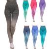 Aqua Ombre Dip Dye fold over Leggings