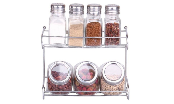 Buy It Now : 7 Pc Spice & Herb Glass Container With Stainless Steel Rack Set