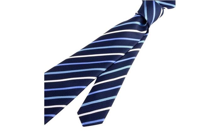 Zodaca Striped Business Wedding Twill Necktie Mens Tie Blue White