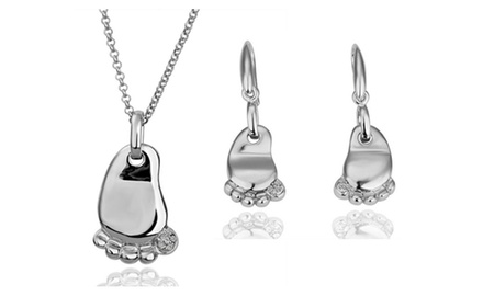 kATGI Fashion 18K White Gold Plated Happy Feet with Austrian Crystal Earrings and Necklace Set
