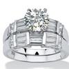 2.79 TCW CZ Platinum over Silver Wedding Ring Set