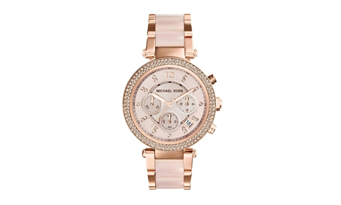 Michael kors parker blush dial rose gold tone ladies watch for Michaels craft store watches