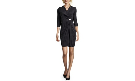 EMMA  MICHELE Faux Wrap Suede Sheath Dress with Metal Cinch