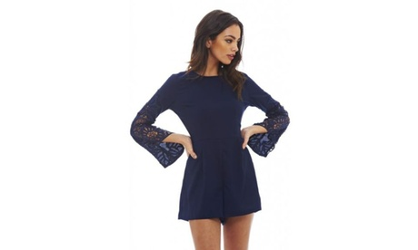 AX Paris Women's Crochet Sleeve Romper cd0bd2cc-00d0-4642-870c-9e44466bb725