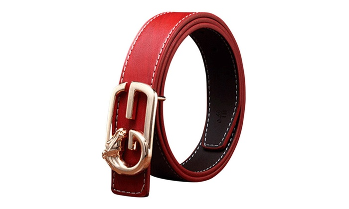 DPN Women's Elegant Wide Strap Holes Cow Leather Pin Buckle Belt - Red