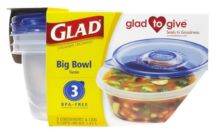 GladWare Big Bowl Containers with Lids, Round Size (Pack of 18 Containers)