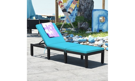 Costway Adjustable Rattan Patio Chaise Lounge Chair Couch w/ Turquoise Cushion