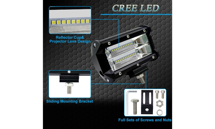 "2x 5/"" CREE LED Pod Work RV Light Bar Flood Beam Off-Road Driving Fog Lights 12V"