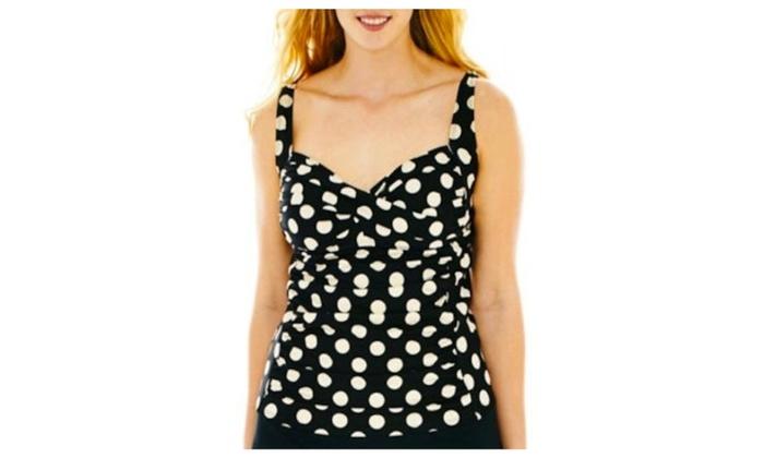 Liz Claiborne Shirred Polka Dot Plus Size Tankini Top | Groupon
