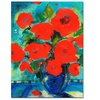 Sheila Golden Cobalt Vase with Red Blossoms Ar Canvas Print