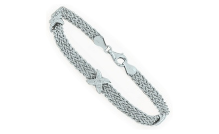 IceCarats Designer Jewelry 10kw 7.25 Rope Bracelet w/ X Dia Accent