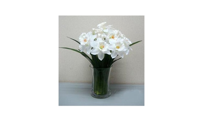 K K INTERIORS 14 Inch White Daffodils In Glass Bottle
