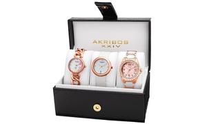Akribos XXIV Women's Quartz Bracelet/Strap Watches Set AKGP887