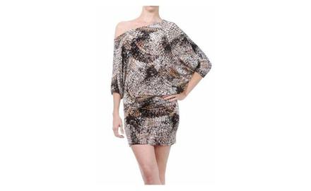 Animal Print One Shoulder Dress