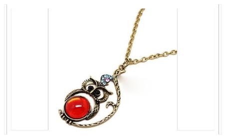 Fashion Crystal Owl Pendant Chain Necklace For Women 6fef7faa-75e4-468e-a840-4d8d2ad478b5
