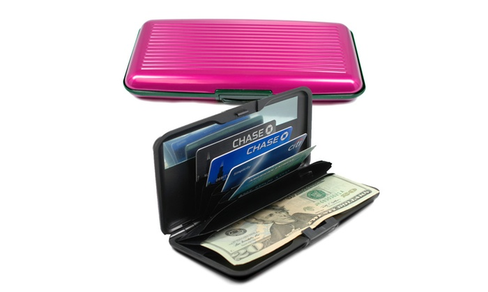 rfid card guard aluminum hard shell wallet with mirror. Black Bedroom Furniture Sets. Home Design Ideas