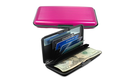 RFID Card Guard Aluminum Hard-Shell Wallet with Mirror