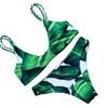 Women's Beach Leaf Print Bikini Set Strap 2 Piece Push Up Swimsuit