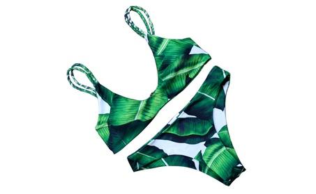 Women's Beach Leaf Print Bikini Set Strap 2 Piece Push Up Swimsuit d1d18b99-ba91-4fa8-815e-83dfe25754b8