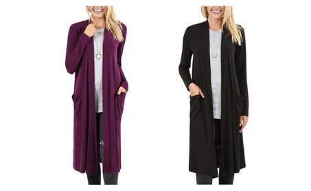 Women's Plus Long Cardigan with Pockets 0f6956a0-1aaa-42b2-937f-3eb53a18da2c