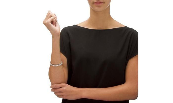 9 20 Tcw Cz Platinum Over Silver Tennis Bracelet Groupon