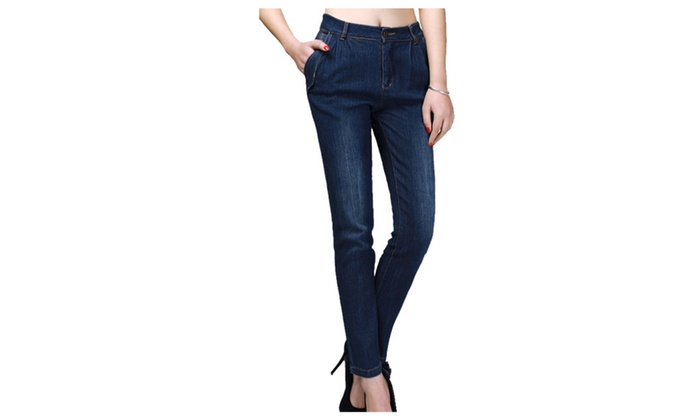 Women's Casual Korean Buttons Up Solid Simple Jeans