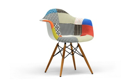 Closeout: Lia Patchwork Mid-Century Style Dining Chair (Set of 2)