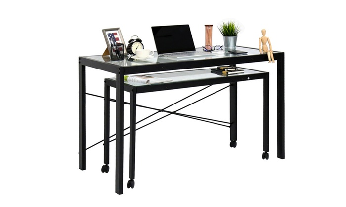 office desk workstation. Interesting Workstation Computer Table Home Office Desk Workstation Metal Legs With Glass Top  With R