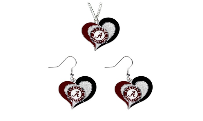 Wisconsin NCAA Swirl Heart Dangle Earring Set
