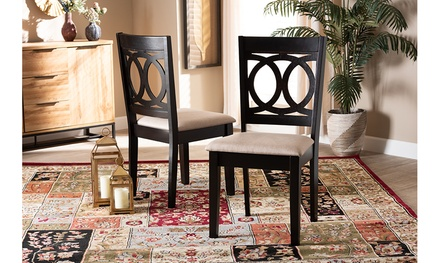 Lenoir Upholstered Espresso Brown Finished Wood 2-Piece Dining Chair Set