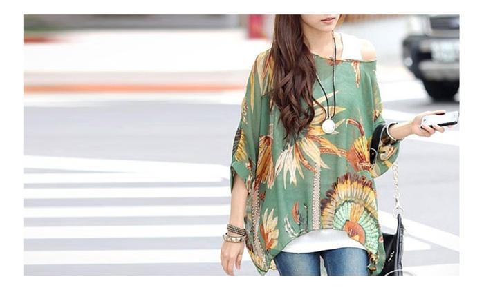 Designer Celebrity Choice Women Chiffon Tunic in Feather Print