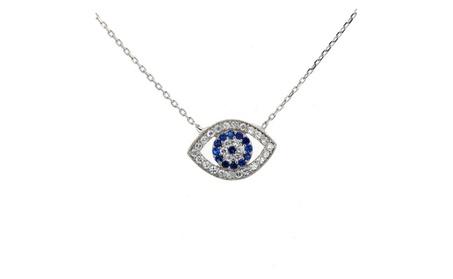 Evil Eye, Silver & Cubic Zirconia Evil Eye Necklace 54f17ccf-635d-4633-97c4-d6889940379c