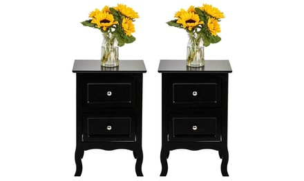 Set of 2 Sofa Side Table Bedroom Nightstands End Table w/ 2 Drawer Display Shelf