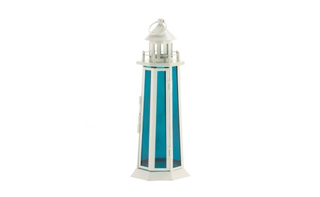 Blue White Nautical Lighthouse Candle Lantern Garden Lamp Centerpiece a8840540-257f-407d-ae87-90b82cc28b1c