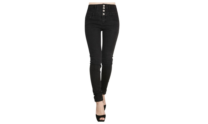JNTworld High Waist Jeans 4 Buttons Denim Pants Skinny Jeans