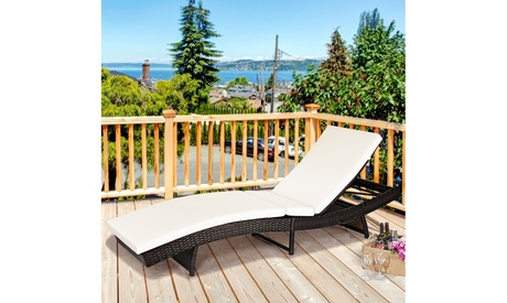 Adjustable Chaise Lounge Chair-Outdoor Patio Furniture, PE Wicker Furniture